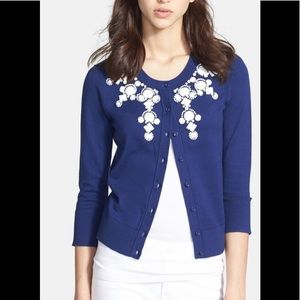 Kate Spade Blue Beaded Cardigan Size XS
